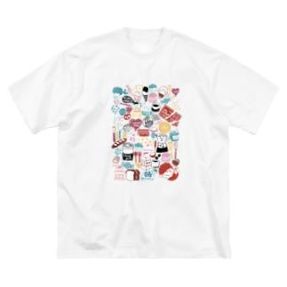 にぎやかカラフルはんこ Big silhouette T-shirts