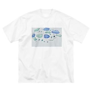 ビーチグラス Big silhouette T-shirts