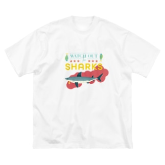 WATCH OUT FOR SHARKS ホワイトバック Big silhouette T-shirts