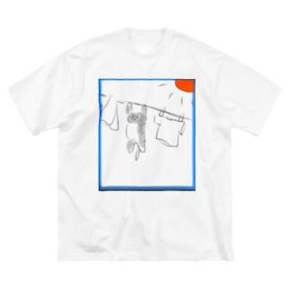 洗濯ねこ Big silhouette T-shirts