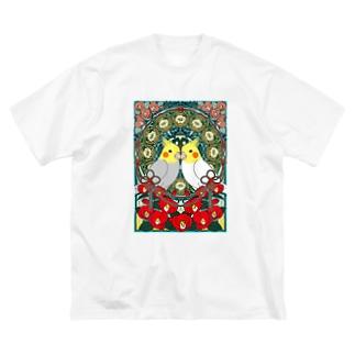 オカメインコ椿【まめるりはことり】 Big silhouette T-shirts