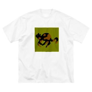 はしるねこちゃん Big silhouette T-shirts