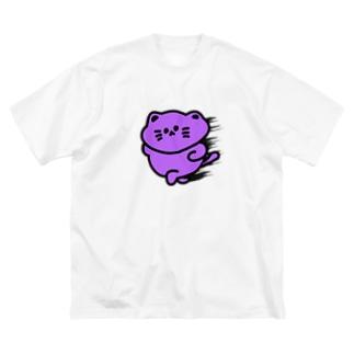 爆速にゃんこ Big silhouette T-shirts
