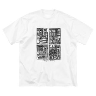 昔々の活版印刷 Big silhouette T-shirts