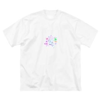 ビリビリ Big silhouette T-shirts