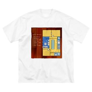 モーニングルーティン 黄 Big silhouette T-shirts