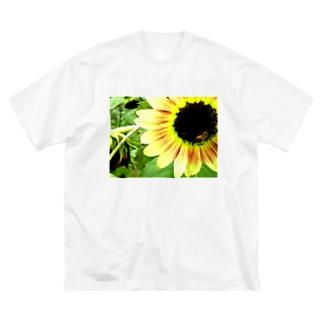向日葵と蜂 Big silhouette T-shirts
