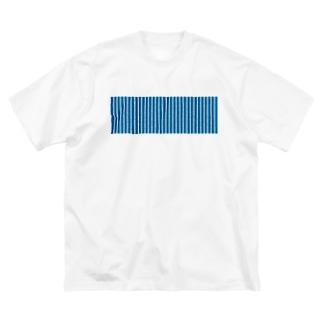 青と白の縦縞 Big silhouette T-shirts