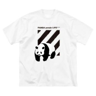 飛び出すパンダ ストライプ Big silhouette T-shirts