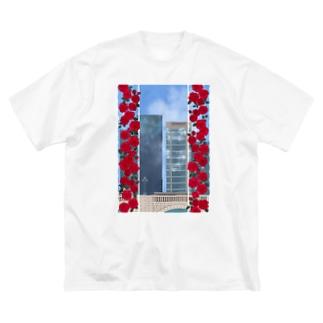 薔薇とビル Big silhouette T-shirts