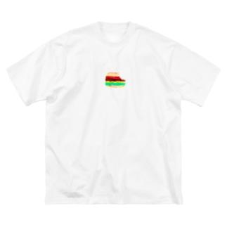 ハンバーガー食べました🍔 Big silhouette T-shirts