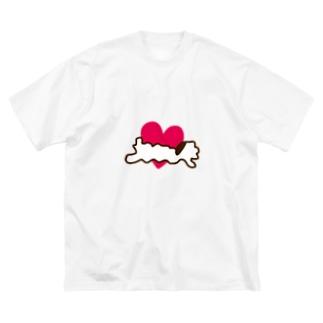 とろけふぃぐ一筆書き Big silhouette T-shirts