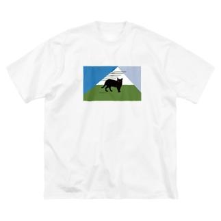 佇む黒猫 Big silhouette T-shirts