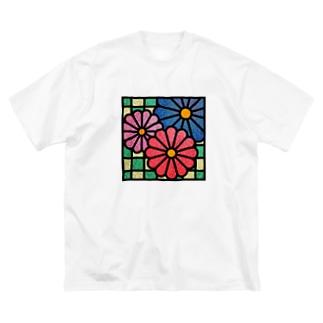 和柄ステンドグラス風(菊×市松) Big silhouette T-shirts