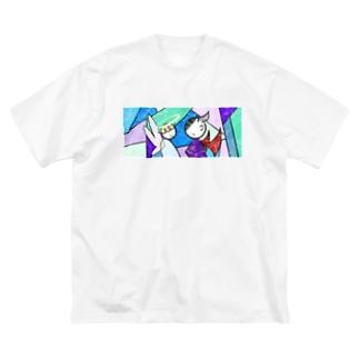 天使と悪魔の密会 Big silhouette T-shirts