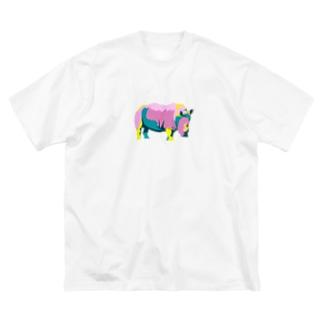 カラフルサイ(kitsuneのポップアートシリーズ) Big silhouette T-shirts