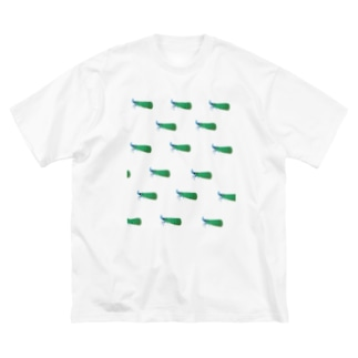 テングビワハゴロモちゃん(青)いっぱい Big silhouette T-shirts
