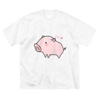 告白ブタさん Big silhouette T-shirts