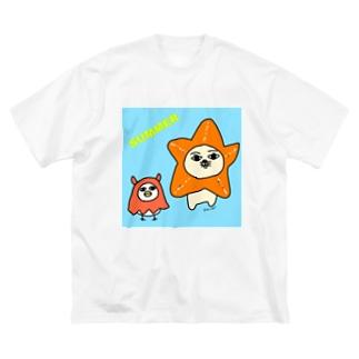 ヒトデとメンダコのコスプレ Big silhouette T-shirts
