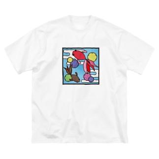和柄ステンドグラス風(金魚×かすみ×雪の輪) Big silhouette T-shirts