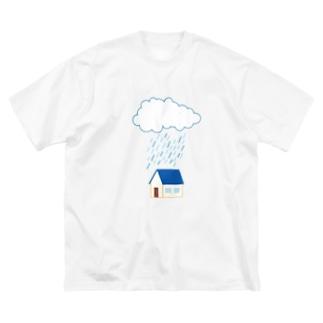 雨の降る家 Big silhouette T-shirts