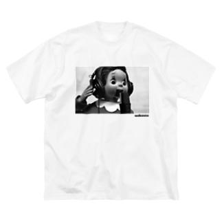 おしゃスタふくちゃんTシャツ ロゴ黒色ver. Big silhouette T-shirts