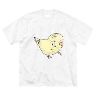 可愛いセキセイインコ おすましちゃん【まめるりはことり】 Big silhouette T-shirts