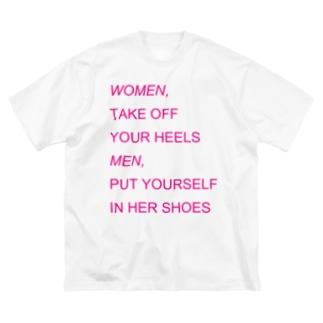 WOMEN&MEN pink print Tシャツ Big silhouette T-shirts
