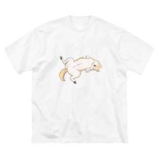 柴犬のへそ天 Big silhouette T-shirts