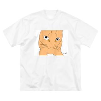 ドアップ猫 Big silhouette T-shirts