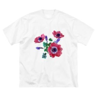 Flower アネモネ&ラベンダー&クローバー Big silhouette T-shirts