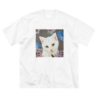 紫陽花としろねこ Big silhouette T-shirts