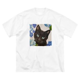 紫陽花とくろねこ Big silhouette T-shirts