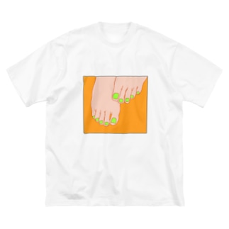 TUMASAKI オレンジ×ライム Big silhouette T-shirts