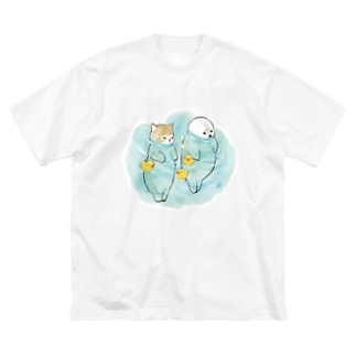 海とにゃんこ Big silhouette T-shirts