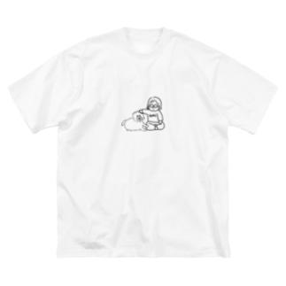 まだ見ぬ犬と可愛がる女 Big silhouette T-shirts