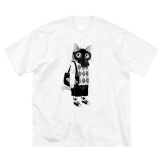 ガスマスクを付けた猫 Big silhouette T-shirts