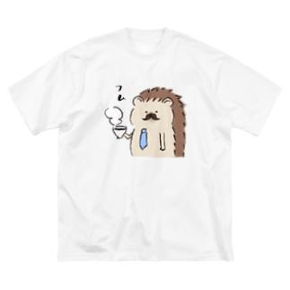 ハリネズミパパ Big silhouette T-shirts