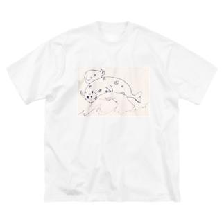 石の上にも三年意志ノ助&1年小丸 Big silhouette T-shirts