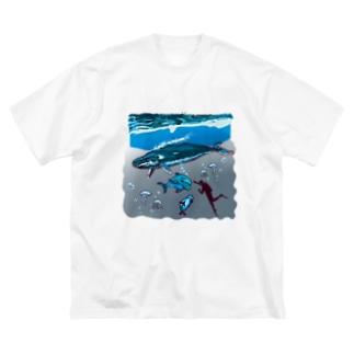 油絵描きの小物売り場のスカンジナビアの海のお散歩 Big silhouette T-shirts