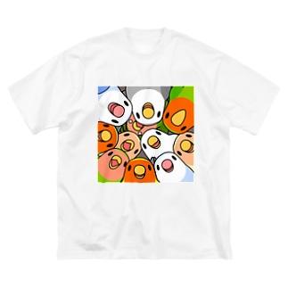 みっちりむっちり過密コザクラインコさん【まめるりはことり】 Big silhouette T-shirts
