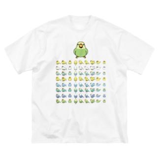 整列セキセイインコ隊【まめるりはことり】 Big silhouette T-shirts