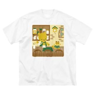 喫茶【はちのす】 Big silhouette T-shirts