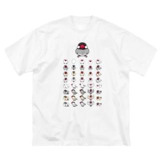 整列文鳥隊【まめるりはことり】 Big silhouette T-shirts