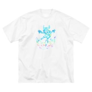 ハルノキ工房のそら およぐ シロ Big silhouette T-shirts