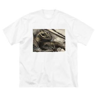 tashiroriekoホカケトカゲ Big silhouette T-shirts