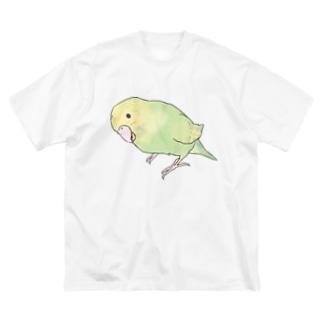 首傾げ スパングルセキセイインコちゃん【まめるりはことり】 Big silhouette T-shirts