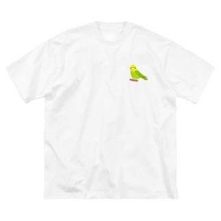 セキセイインコ Big silhouette T-shirts