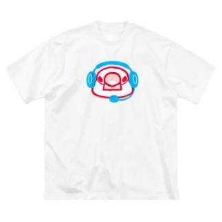 ヘッドセットの文鳥 正面 Big silhouette T-shirts