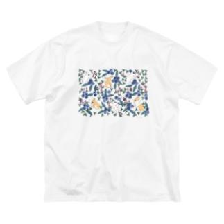 ぶるぶるブルーベリー Big silhouette T-shirts